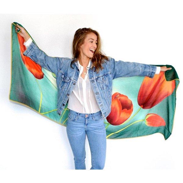 Tulpensjaal groen met rode tulpen