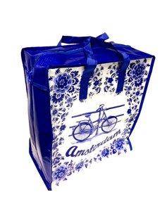 Einkaufstasche Delft blau mit Fahrrad