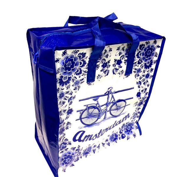 Delfter blaue Einkaufstasche mit Fahrrad