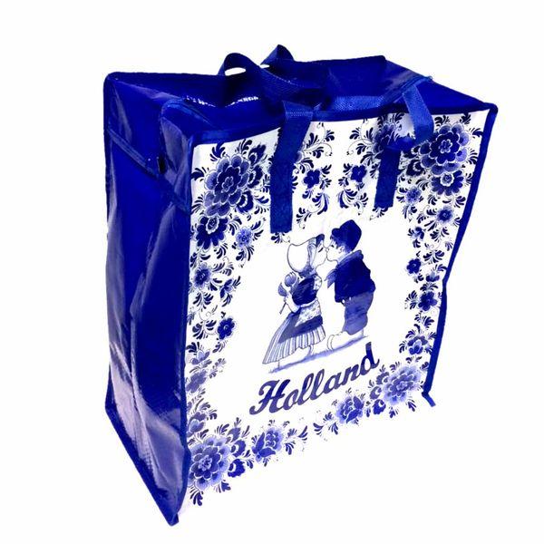 Einkaufstasche Delft blaues Kusspaar