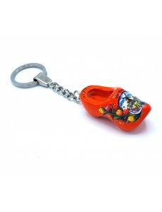 Holzschuh Schlüsselanhänger 1 Schuh Orange
