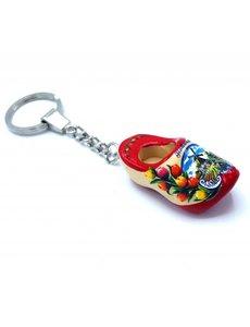 Holzschuh Schlüsselanhänger 1 Schuh Rote Sohle