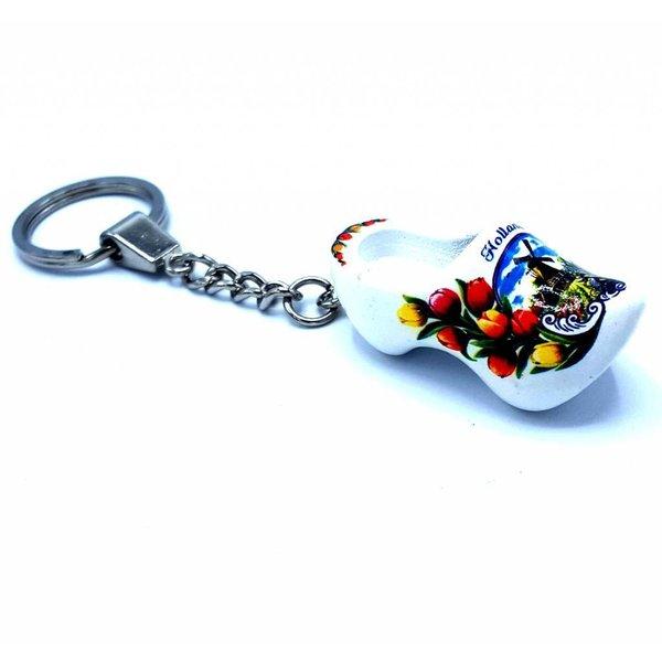 Holzschuh Schlüsselanhänger 1 Schuh Weiß