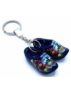 Holzschuh Schlüsselring 2 Clogs Blau