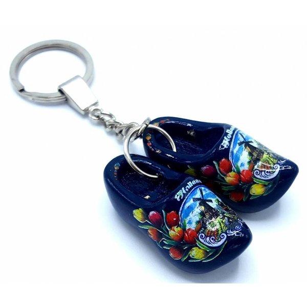 Holzschuh Schlüsselanhänger 2 Schuhe Blau