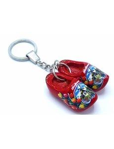 Holzschuh Schlüsselanhänger 2 Schuhe Rot
