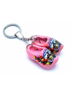 Holzschuh Schlüsselring 2 Clogs Pink