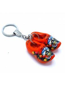 Holzschuh Schlüsselanhänger 2 Schuhe Orange