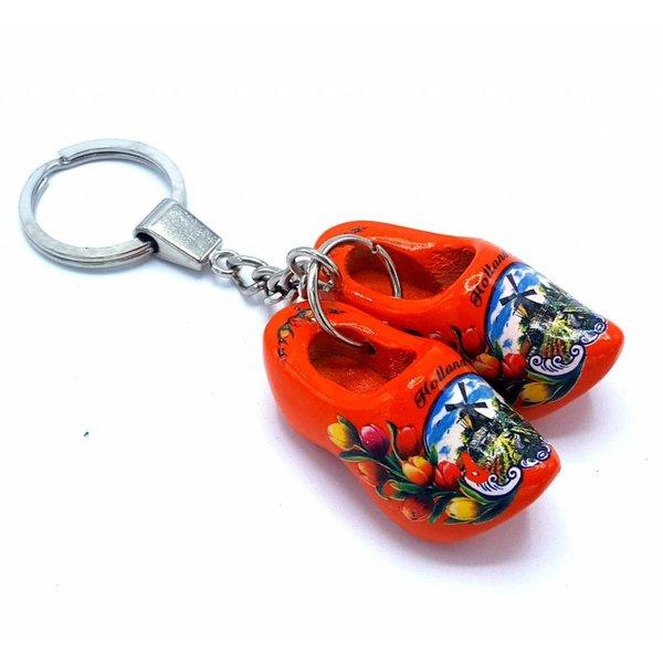 Woodenshoe keyhanger 2 shoes Orange