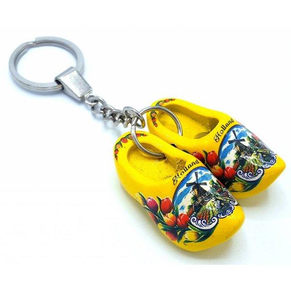 Holzschuh Schlüsselanhänger 2 Schuhe Gelb