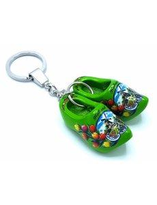 Holzschuh Schlüsselring 2 Clogs Grün