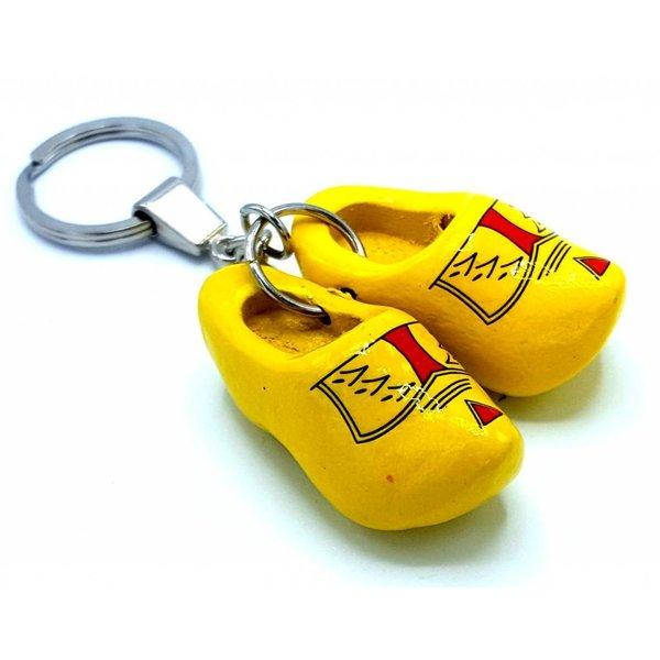 Holzschuh Schlüsselring 2 Clogs Farmer Yellow