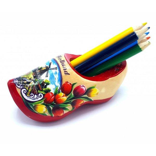 Bleistift Clogs mit 6 Stiften Rote Sohle