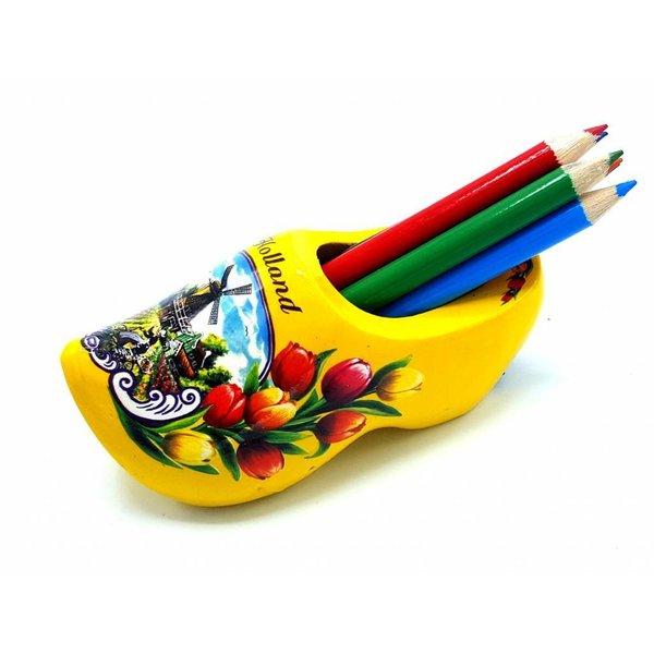 Bleistift Clogs mit 6 Stiften Gelb