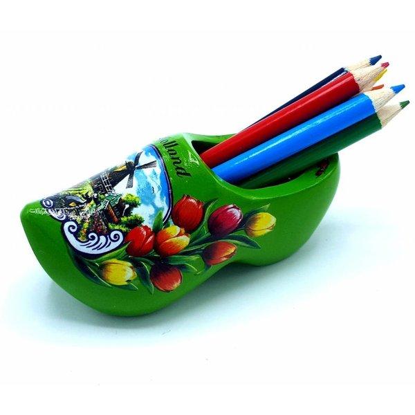 Bleistift Clogs mit 6 Stiften Grün