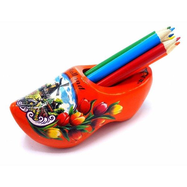 Bleistift Clogs mit 6 Stiften Orange