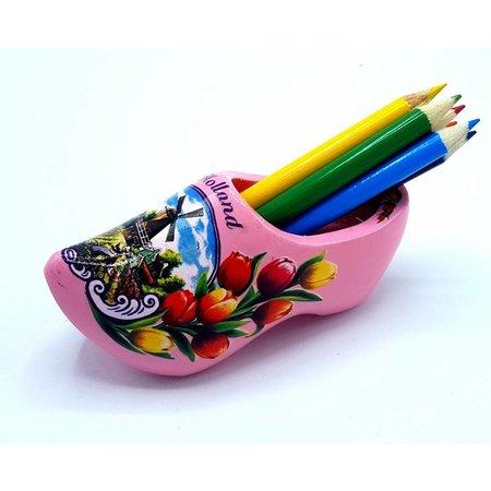 Potloodklompje met 6 potloden roze