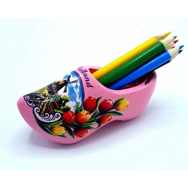 Pencil clog with 6 pencils pink
