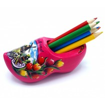 Pencil clog with 6 pencils dark pink
