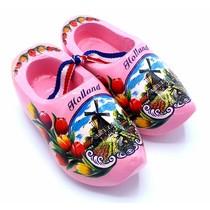 Souvenir woodenshoes 8cm pink