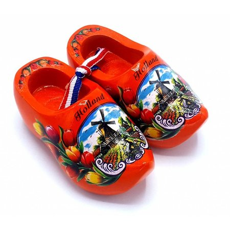 Souvenir klompenpaartje 8cm oranje