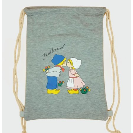 Amstel bags Draw string bag kissing couple gray