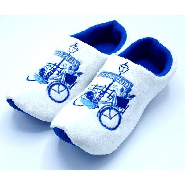 Klomppantoffels Delftsblauw met fiets