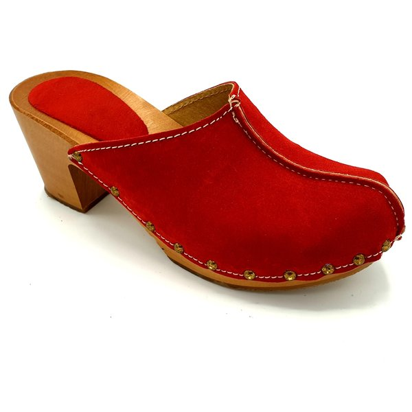 DINA Red heels suede clogs van Dina