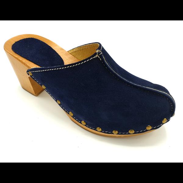 DINA Navy Blue suede high heel clogs @Dina