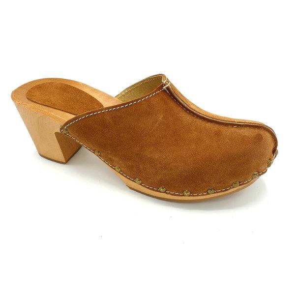 DINA Beige high heels suede clogs @Dina