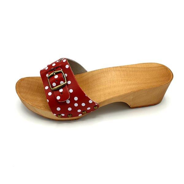 DINA Sandalen Rote Punkte schmale Schnalle - Klatscher -
