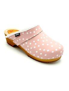 DINA Schwedische Clogs pink mit Punkten