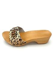 DINA Wooden sandals leopard print - wooden slippers -