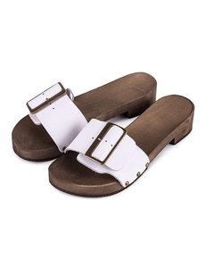 DINA Kleppers/slippers wit met brede gesp