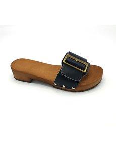 DINA Houten sandalen  zwart met brede gesp