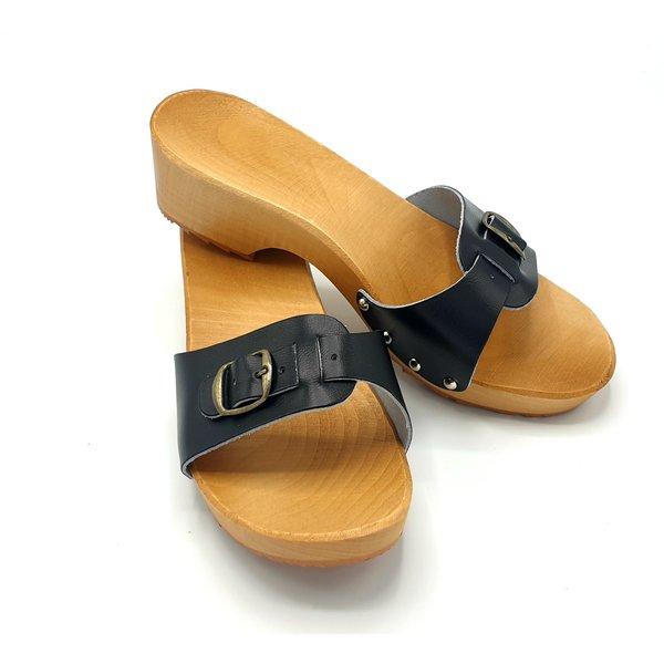 DINA  Houten sandalen zwart smalle gesp - kleppers -