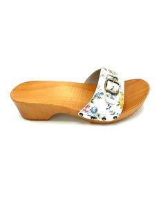 DINA Houten sandalen bloemetjes print smalle gesp