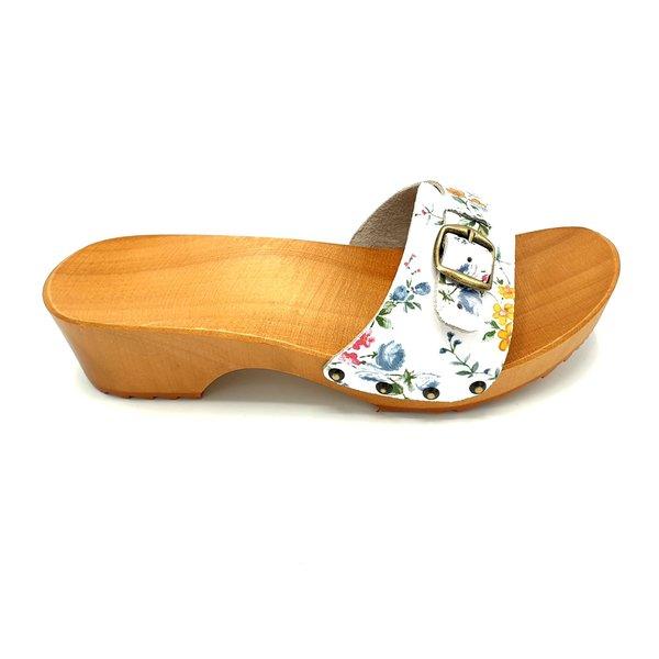 DINA Schmale Schnalle mit Blumendruck aus Holzsandalen