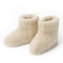 Wool indoor slippers high model white