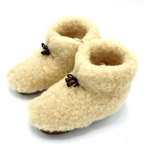 Wool indoor slippers with laces white
