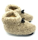 DINA Wool indoor slippers with laces grey