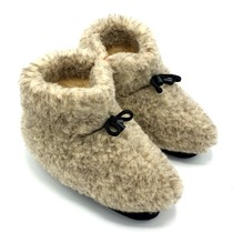 Wool indoor slippers with laces grey