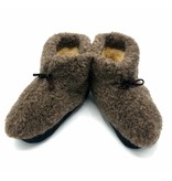 DINA Wool indoor slippers with laces black