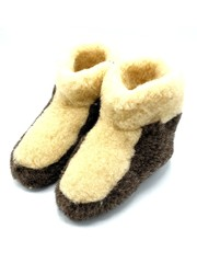 DINA Wool indoor slippers high model white over black
