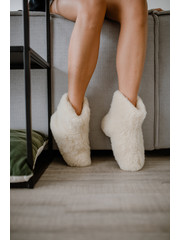 DINA Wool indoor slippers high model white