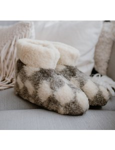 DINA Wool indoor slippers high model chequered