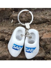 Keyhanger with two woodenshoes white with your logo