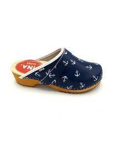 DINA Schwedische Clogs blau mit weißen Schiffsankern