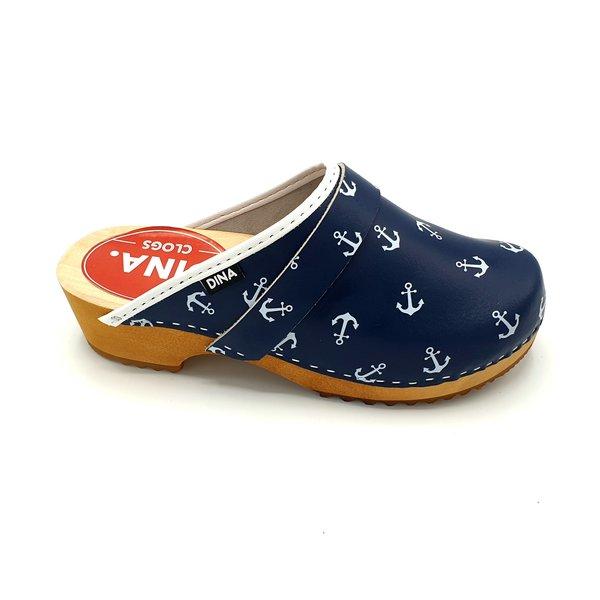 DINA Zweedse klompen blauw met witte scheepsankers