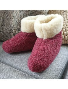 DINA Wool indoor slippers high model red/white